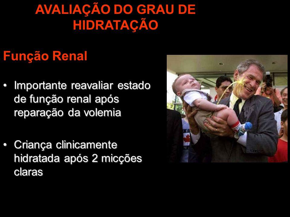 AVALIAÇÃO DO GRAU DE HIDRATAÇÃO Função Renal Importante reavaliar estado de função renal após reparação da volemiaImportante reavaliar estado de funçã
