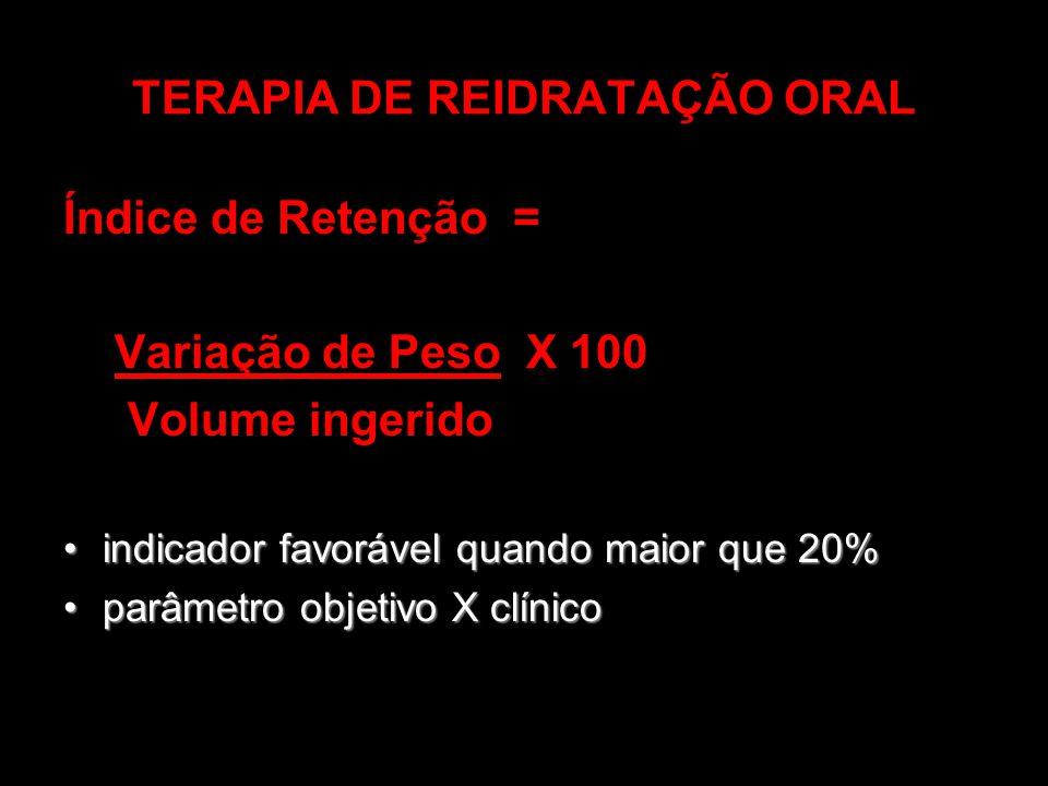 TERAPIA DE REIDRATAÇÃO ORAL Índice de Retenção = Variação de Peso X 100 Volume ingerido indicador favorável quando maior que 20%indicador favorável qu