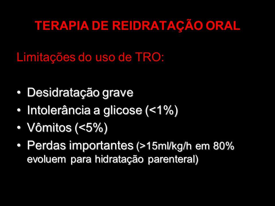 TERAPIA DE REIDRATAÇÃO ORAL Limitações do uso de TRO: Desidratação graveDesidratação grave Intolerância a glicose (<1%)Intolerância a glicose (<1%) Vô