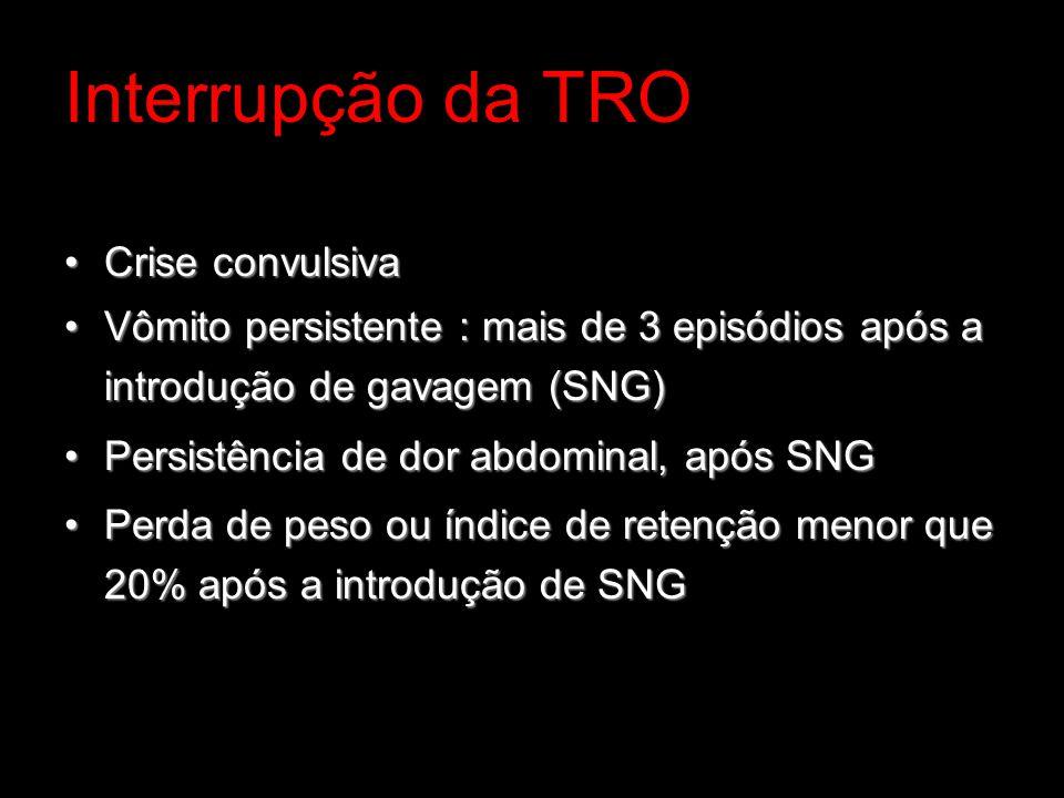 Interrupção da TRO Crise convulsivaCrise convulsiva Vômito persistente : mais de 3 episódios após a introdução de gavagem (SNG)Vômito persistente : ma