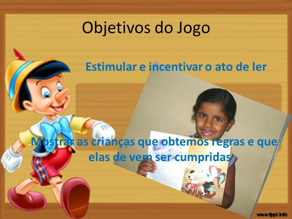 Objetivos do Jogo Estimular e incentivar o ato de ler Mostrar as crianças que obtemos regras e que elas de vem ser cumpridas
