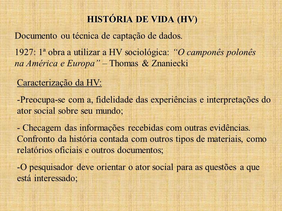 HISTÓRIA DE VIDA (HV) Documento ou técnica de captação de dados.