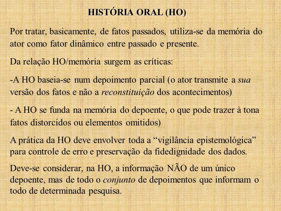 HISTÓRIA ORAL (HO) Por tratar, basicamente, de fatos passados, utiliza-se da memória do ator como fator dinâmico entre passado e presente.