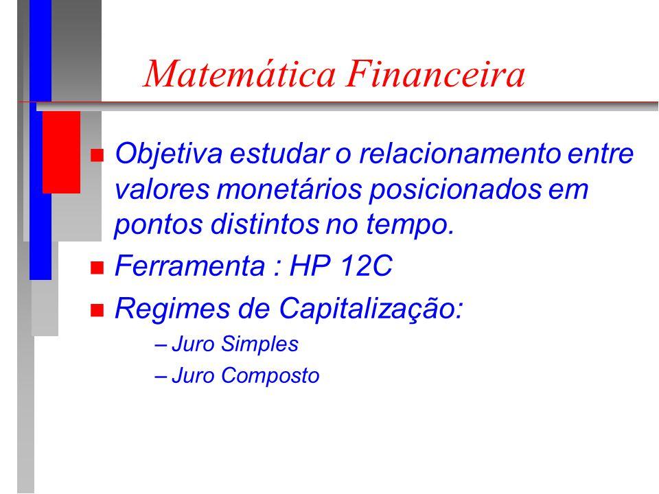 Matemática Financeira n Objetiva estudar o relacionamento entre valores monetários posicionados em pontos distintos no tempo.