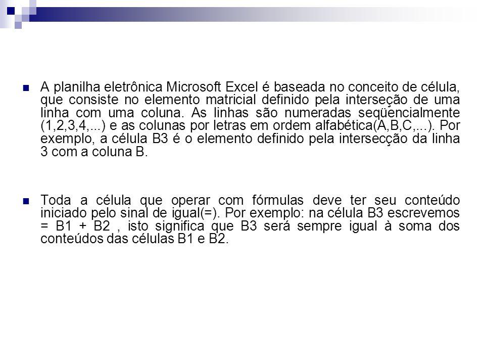 A planilha eletrônica Microsoft Excel é baseada no conceito de célula, que consiste no elemento matricial definido pela interseção de uma linha com um