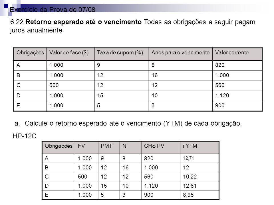 Exercício da Prova de 07/08 6.22 Retorno esperado até o vencimento Todas as obrigações a seguir pagam juros anualmente ObrigaçõesValor de face ($)Taxa