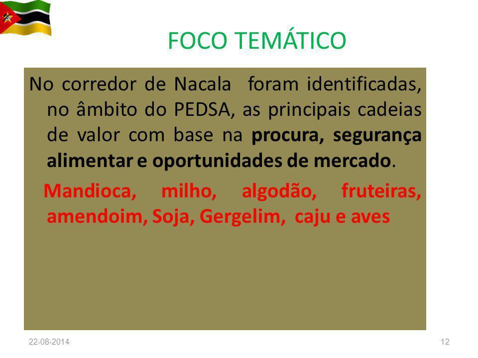 FOCO TEMÁTICO No corredor de Nacala foram identificadas, no âmbito do PEDSA, as principais cadeias de valor com base na procura, segurança alimentar e