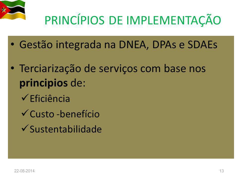 PRINCÍPIOS DE IMPLEMENTAÇÃO Gestão integrada na DNEA, DPAs e SDAEs Terciarização de serviços com base nos principios de: Eficiência Custo -benefício Sustentabilidade 22-08-201413