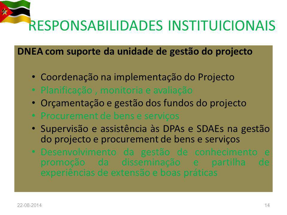 RESPONSABILIDADES INSTITUICIONAIS DNEA com suporte da unidade de gestão do projecto Coordenação na implementação do Projecto Planificação, monitoria e