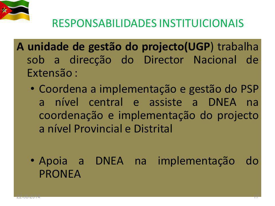 RESPONSABILIDADES INSTITUICIONAIS A unidade de gestão do projecto(UGP) trabalha sob a direcção do Director Nacional de Extensão : Coordena a implement