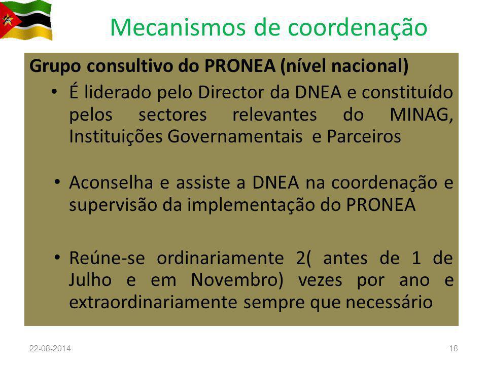 Mecanismos de coordenação Grupo consultivo do PRONEA (nível nacional) É liderado pelo Director da DNEA e constituído pelos sectores relevantes do MINAG, Instituições Governamentais e Parceiros Aconselha e assiste a DNEA na coordenação e supervisão da implementação do PRONEA Reúne-se ordinariamente 2( antes de 1 de Julho e em Novembro) vezes por ano e extraordinariamente sempre que necessário 22-08-201418