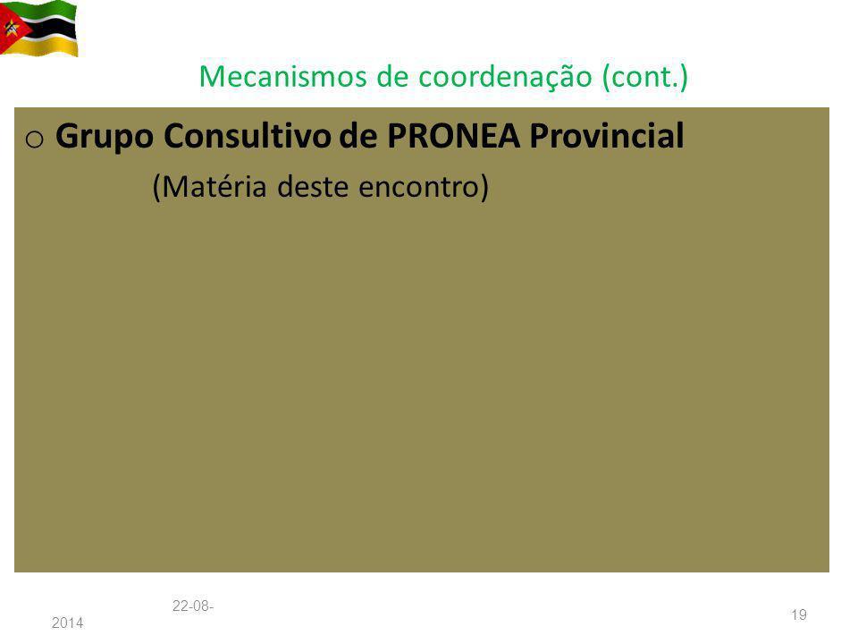 Mecanismos de coordenação (cont.) o Grupo Consultivo de PRONEA Provincial (Matéria deste encontro) 22-08-201422-08-2014 19