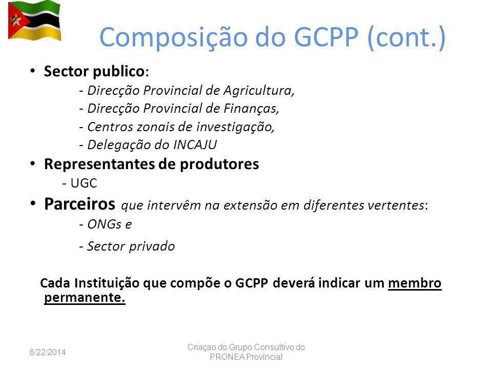 Composição do GCPP (cont.) Sector publico : - Direcção Provincial de Agricultura, - Direcção Provincial de Finanças, - Centros zonais de investigação, - Delegação do INCAJU Representantes de produtores - UGC Parceiros que intervêm na extensão em diferentes vertentes: - ONGs e - Sector privado Cada Instituição que compõe o GCPP deverá indicar um membro permanente.