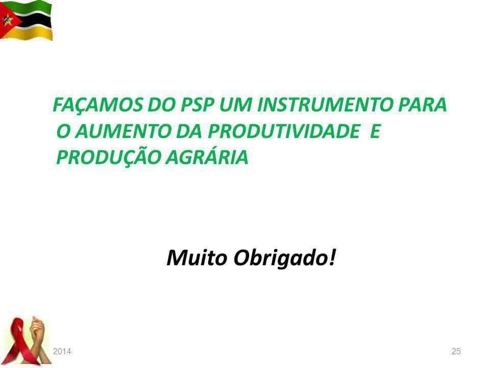 FAÇAMOS DO PSP UM INSTRUMENTO PARA O AUMENTO DA PRODUTIVIDADE E PRODUÇÃO AGRÁRIA Muito Obrigado! 22-08-201425