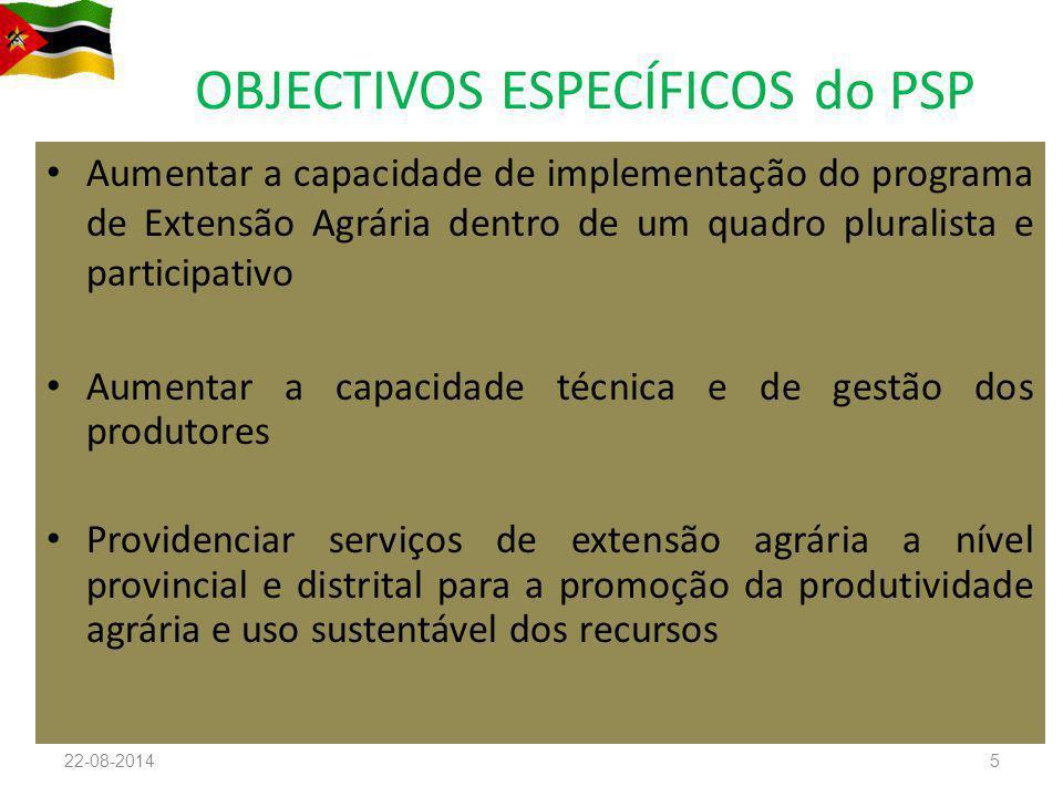 OBJECTIVOS ESPECÍFICOS do PSP Aumentar a capacidade de implementação do programa de Extensão Agrária dentro de um quadro pluralista e participativo Au