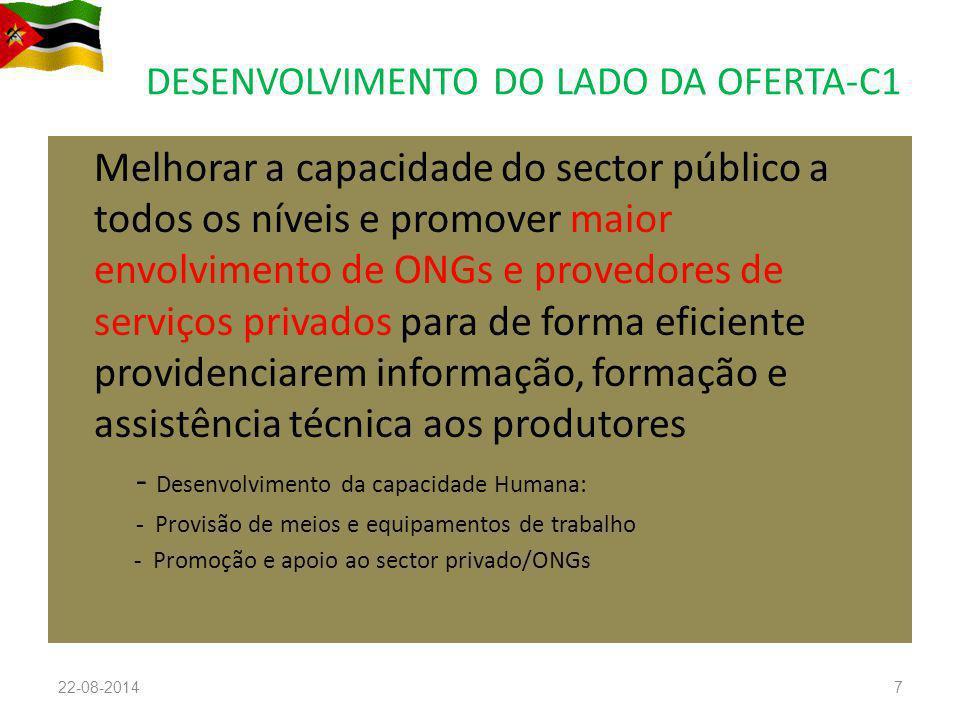 DESENVOLVIMENTO DO LADO DA OFERTA-C1 Melhorar a capacidade do sector público a todos os níveis e promover maior envolvimento de ONGs e provedores de s