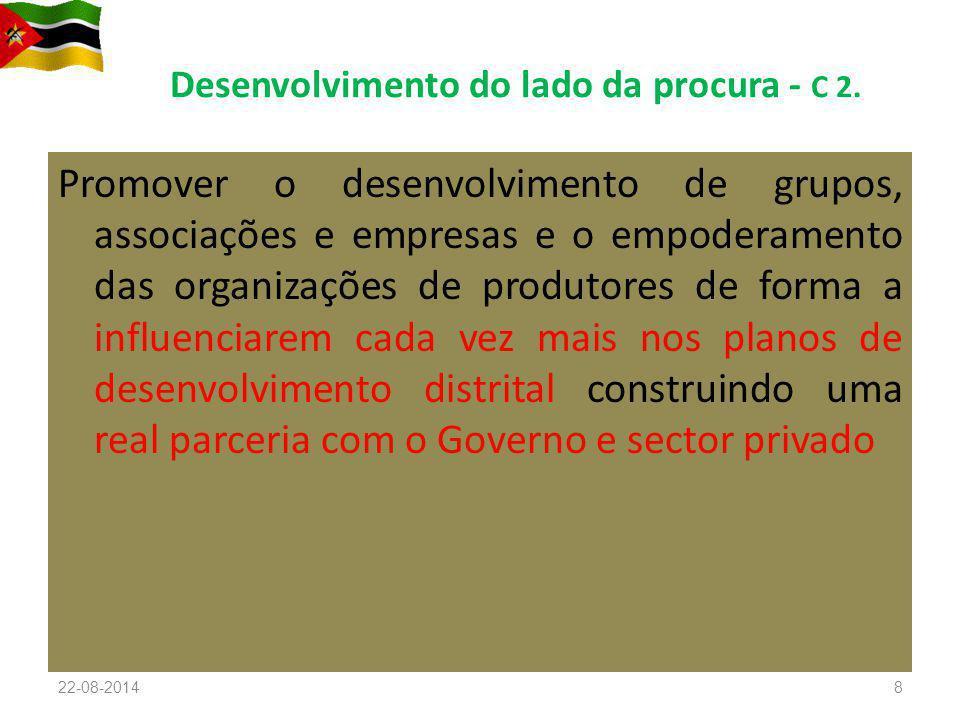 Desenvolvimento do lado da procura - C 2. Promover o desenvolvimento de grupos, associações e empresas e o empoderamento das organizações de produtore