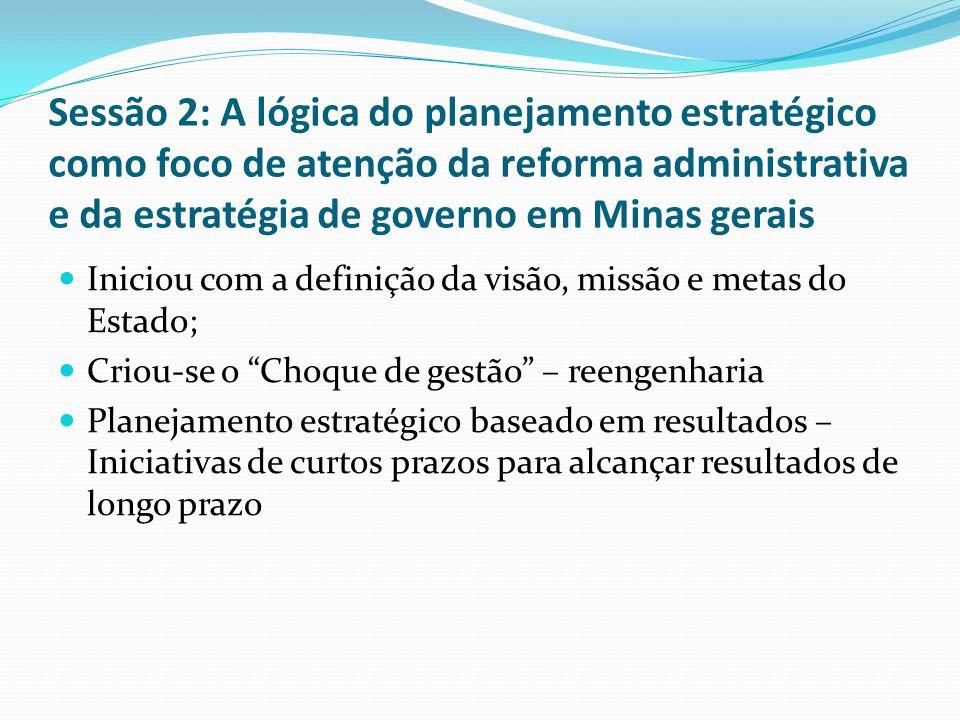 Sessão 2: A lógica do planejamento estratégico como foco de atenção da reforma administrativa e da estratégia de governo em Minas gerais Iniciou com a