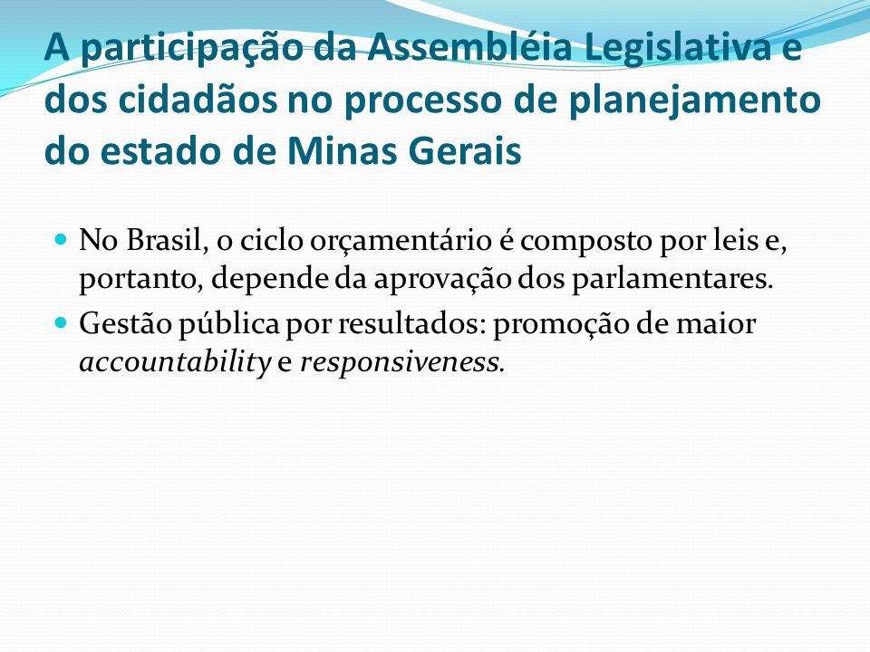 A participação da Assembléia Legislativa e dos cidadãos no processo de planejamento do estado de Minas Gerais No Brasil, o ciclo orçamentário é compos