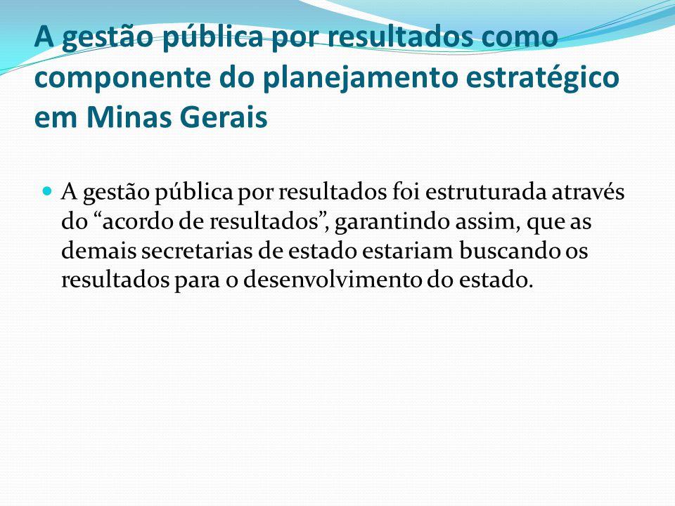A gestão pública por resultados como componente do planejamento estratégico em Minas Gerais A gestão pública por resultados foi estruturada através do