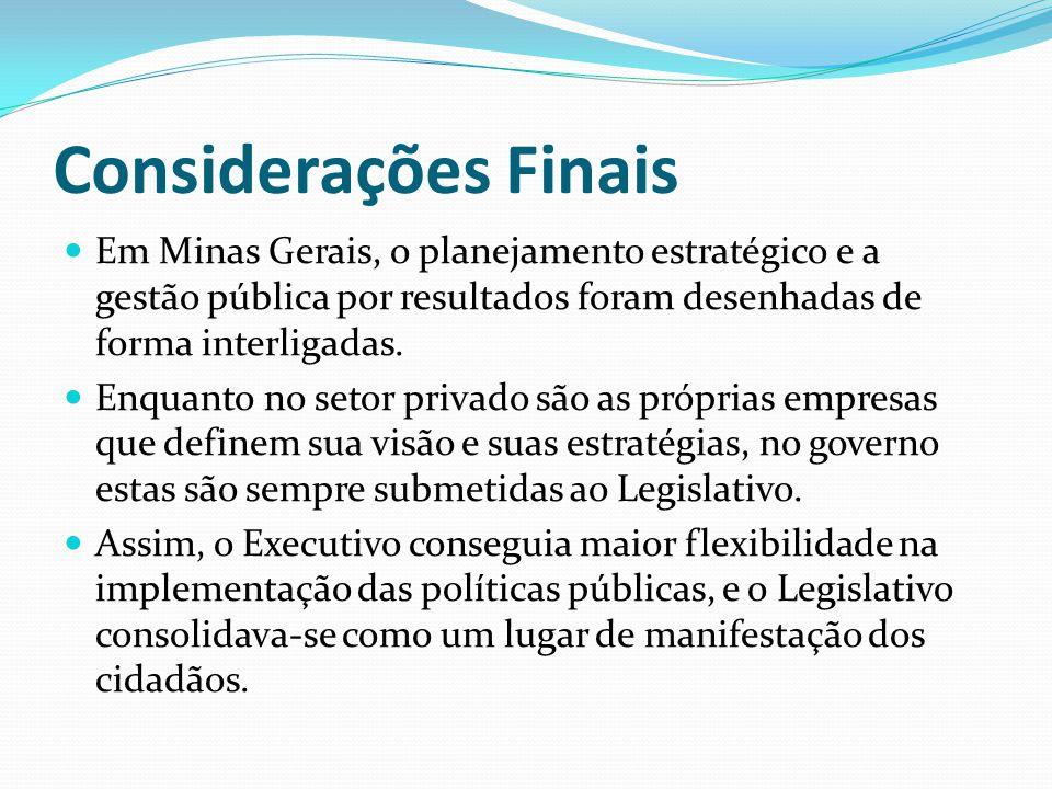 Considerações Finais Em Minas Gerais, o planejamento estratégico e a gestão pública por resultados foram desenhadas de forma interligadas. Enquanto no
