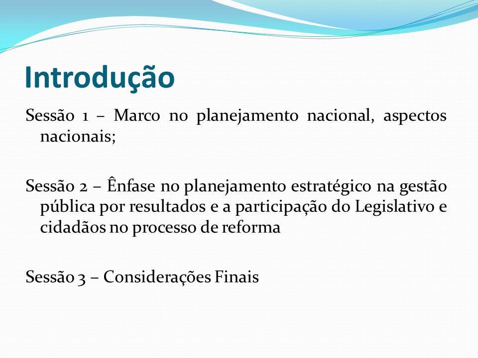 Introdução Sessão 1 – Marco no planejamento nacional, aspectos nacionais; Sessão 2 – Ênfase no planejamento estratégico na gestão pública por resultad