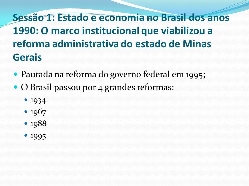 Sessão 1: Estado e economia no Brasil dos anos 1990: O marco institucional que viabilizou a reforma administrativa do estado de Minas Gerais Pautada na reforma do governo federal em 1995; O Brasil passou por 4 grandes reformas: 1934 1967 1988 1995
