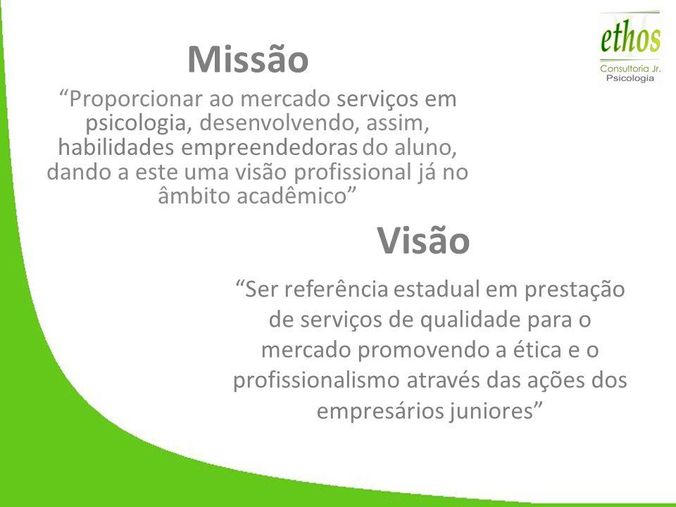 """Missão """"Proporcionar ao mercado serviços em psicologia, desenvolvendo, assim, habilidades empreendedoras do aluno, dando a este uma visão profissional"""