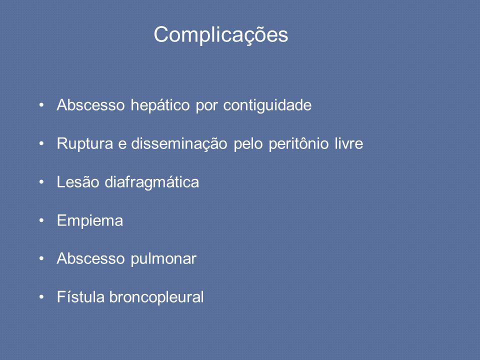 Complicações Abscesso hepático por contiguidade Ruptura e disseminação pelo peritônio livre Lesão diafragmática Empiema Abscesso pulmonar Fístula bron