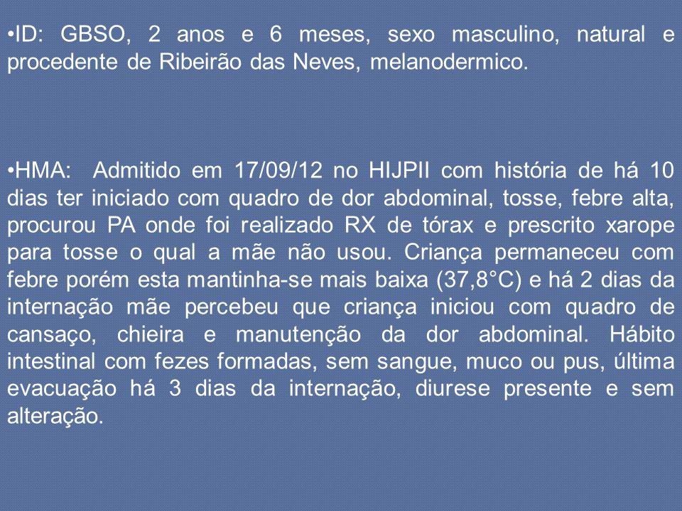 ID: GBSO, 2 anos e 6 meses, sexo masculino, natural e procedente de Ribeirão das Neves, melanodermico. HMA: Admitido em 17/09/12 no HIJPII com históri
