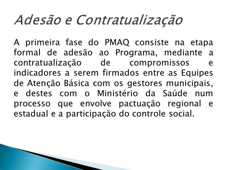 A primeira fase do PMAQ consiste na etapa formal de adesão ao Programa, mediante a contratualização de compromissos e indicadores a serem firmados entre as Equipes de Atenção Básica com os gestores municipais, e destes com o Ministério da Saúde num processo que envolve pactuação regional e estadual e a participação do controle social.