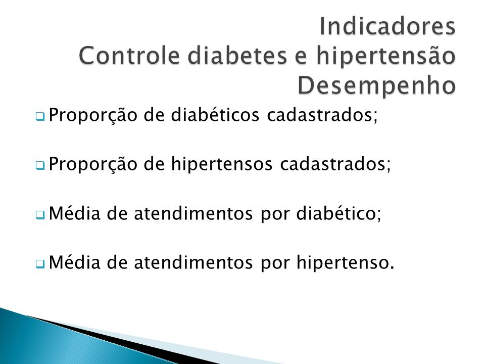  Proporção de diabéticos cadastrados;  Proporção de hipertensos cadastrados;  Média de atendimentos por diabético;  Média de atendimentos por hipe