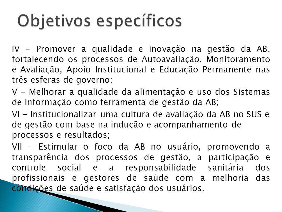 IV - Promover a qualidade e inovação na gestão da AB, fortalecendo os processos de Autoavaliação, Monitoramento e Avaliação, Apoio Institucional e Educação Permanente nas três esferas de governo; V - Melhorar a qualidade da alimentação e uso dos Sistemas de Informação como ferramenta de gestão da AB; VI - Institucionalizar uma cultura de avaliação da AB no SUS e de gestão com base na indução e acompanhamento de processos e resultados; VII - Estimular o foco da AB no usuário, promovendo a transparência dos processos de gestão, a participação e controle social e a responsabilidade sanitária dos profissionais e gestores de saúde com a melhoria das condições de saúde e satisfação dos usuários.