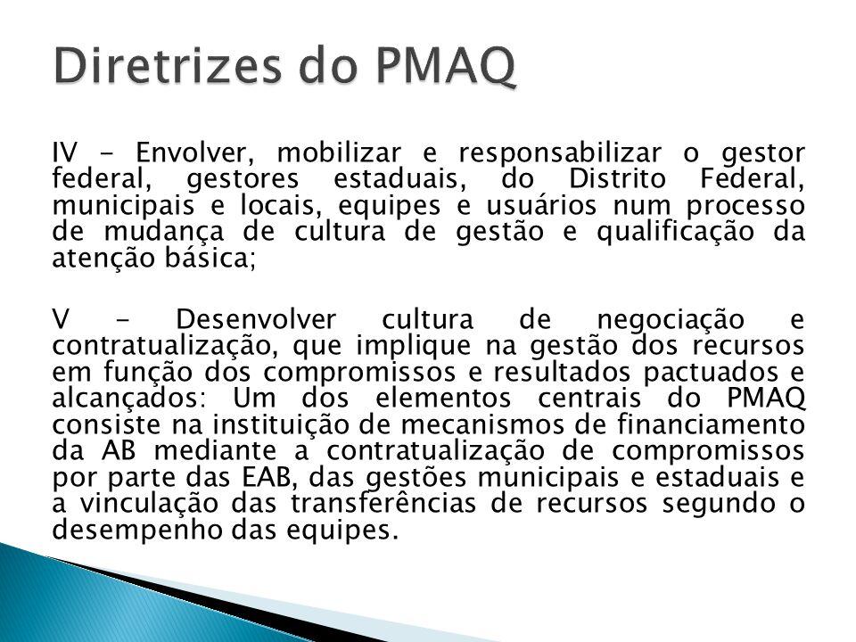 IV - Envolver, mobilizar e responsabilizar o gestor federal, gestores estaduais, do Distrito Federal, municipais e locais, equipes e usuários num processo de mudança de cultura de gestão e qualificação da atenção básica; V - Desenvolver cultura de negociação e contratualização, que implique na gestão dos recursos em função dos compromissos e resultados pactuados e alcançados: Um dos elementos centrais do PMAQ consiste na instituição de mecanismos de financiamento da AB mediante a contratualização de compromissos por parte das EAB, das gestões municipais e estaduais e a vinculação das transferências de recursos segundo o desempenho das equipes.