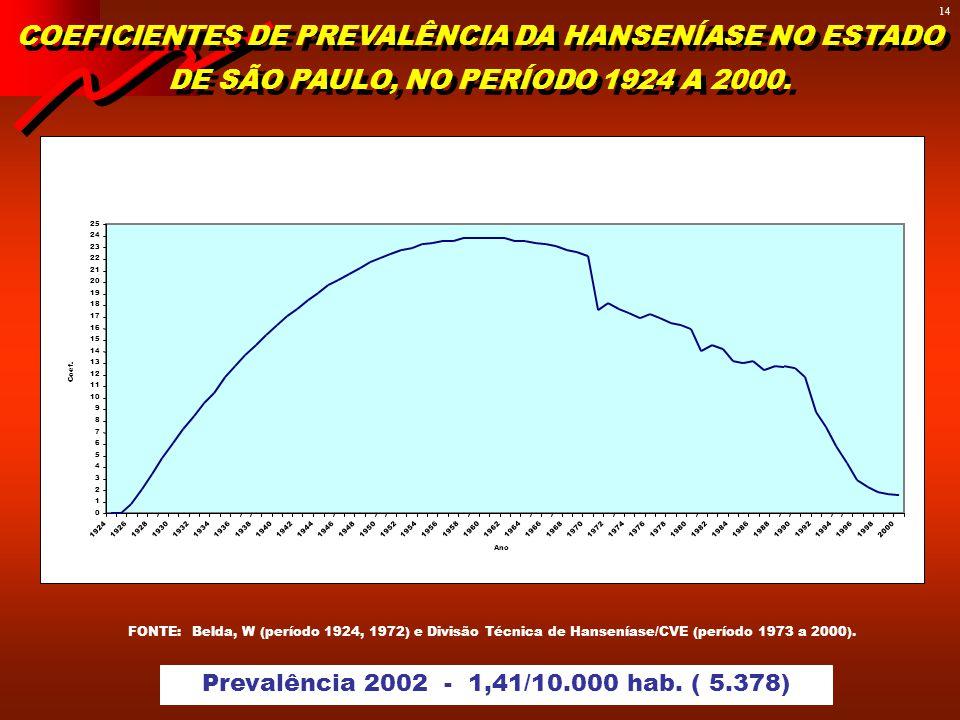 13 SITUAÇÃO EPIDEMIOLÓGICA DA HANSENÍASE NO ESTADO DE SÃO PAULO - 2003 GOVERNO DO ESTADO DE SÃO PAULO SECRETARIA DE ESTADO DA SAÚDE CENTRO DE VIGILÂNC