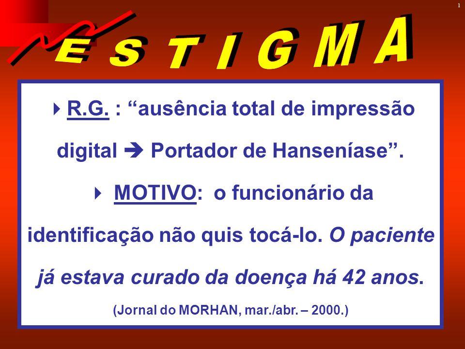 1  R.G.: ausência total de impressão digital  Portador de Hanseníase .
