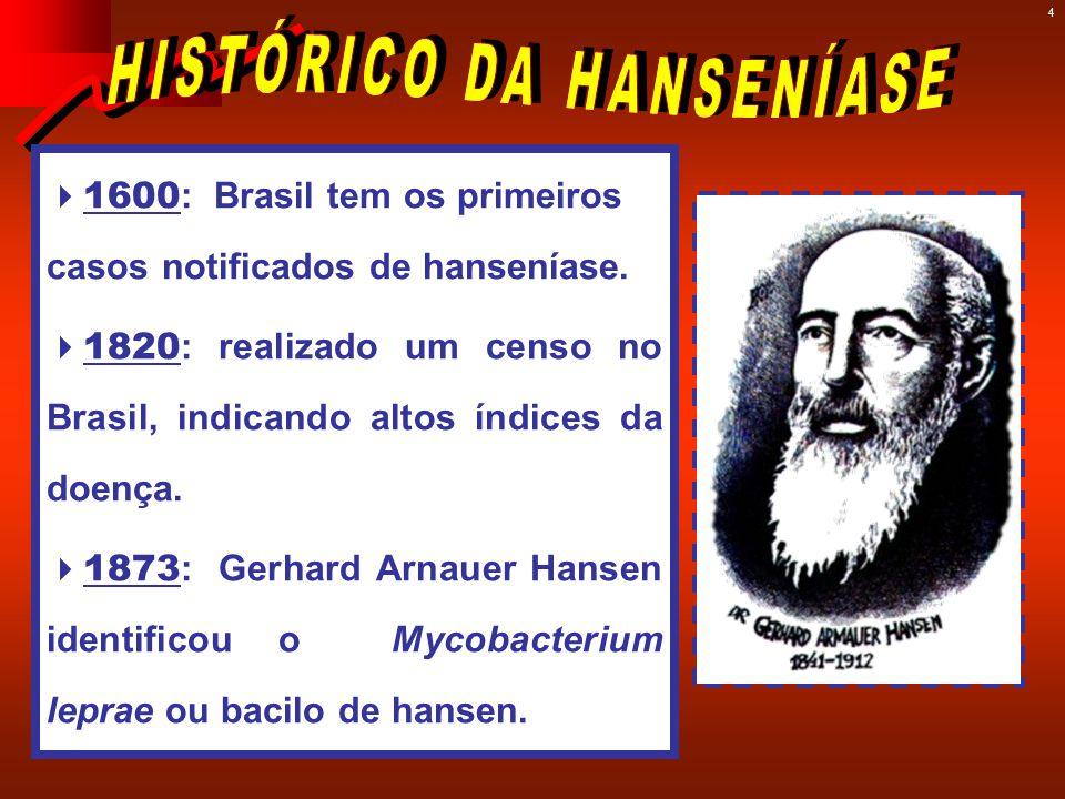 4  1600 : Brasil tem os primeiros casos notificados de hanseníase.