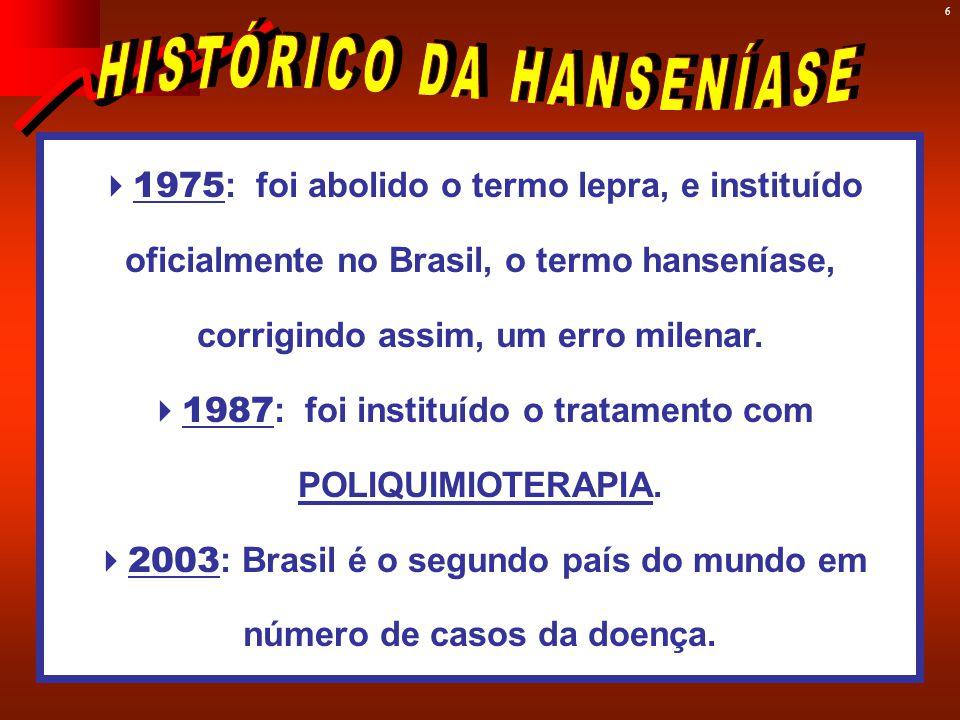 6  1975 : foi abolido o termo lepra, e instituído oficialmente no Brasil, o termo hanseníase, corrigindo assim, um erro milenar.