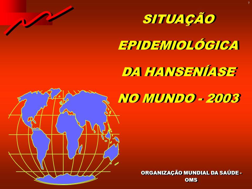 7 ORGANIZAÇÃO MUNDIAL DA SAÚDE - OMS SITUAÇÃO EPIDEMIOLÓGICA DA HANSENÍASE NO MUNDO - 2003