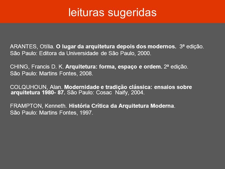 leituras sugeridas ARANTES, Otília. O lugar da arquitetura depois dos modernos. 3ª edição. São Paulo: Editora da Universidade de São Paulo, 2000. CHIN