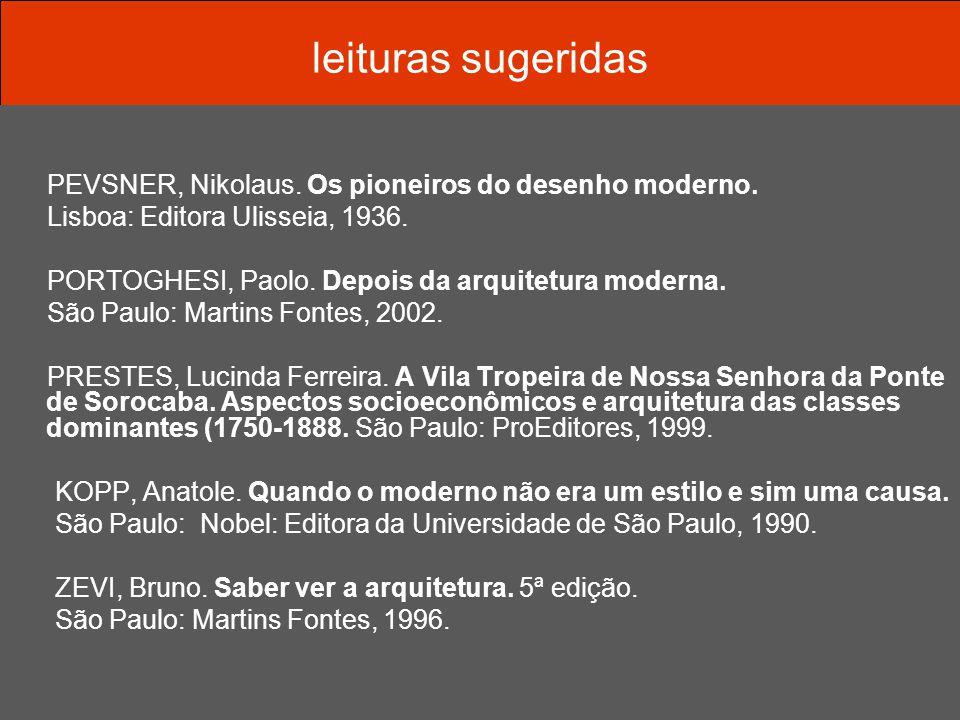 leituras sugeridas PEVSNER, Nikolaus. Os pioneiros do desenho moderno. Lisboa: Editora Ulisseia, 1936. PORTOGHESI, Paolo. Depois da arquitetura modern