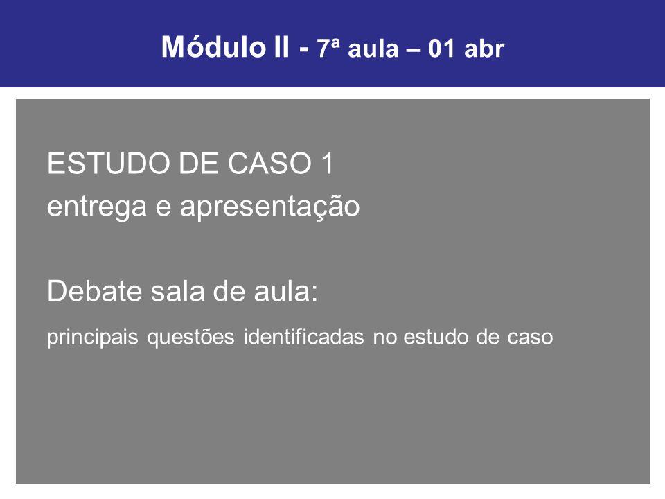 Módulo II - 7ª aula – 01 abr ESTUDO DE CASO 1 entrega e apresentação Debate sala de aula: principais questões identificadas no estudo de caso