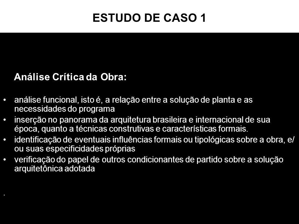 ESTUDO DE CASO 1 Análise Crítica da Obra: análise funcional, isto é, a relação entre a solução de planta e as necessidades do programa inserção no pan