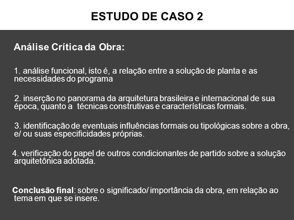 ESTUDO DE CASO 2 Análise Crítica da Obra: 1. análise funcional, isto é, a relação entre a solução de planta e as necessidades do programa 2. inserção