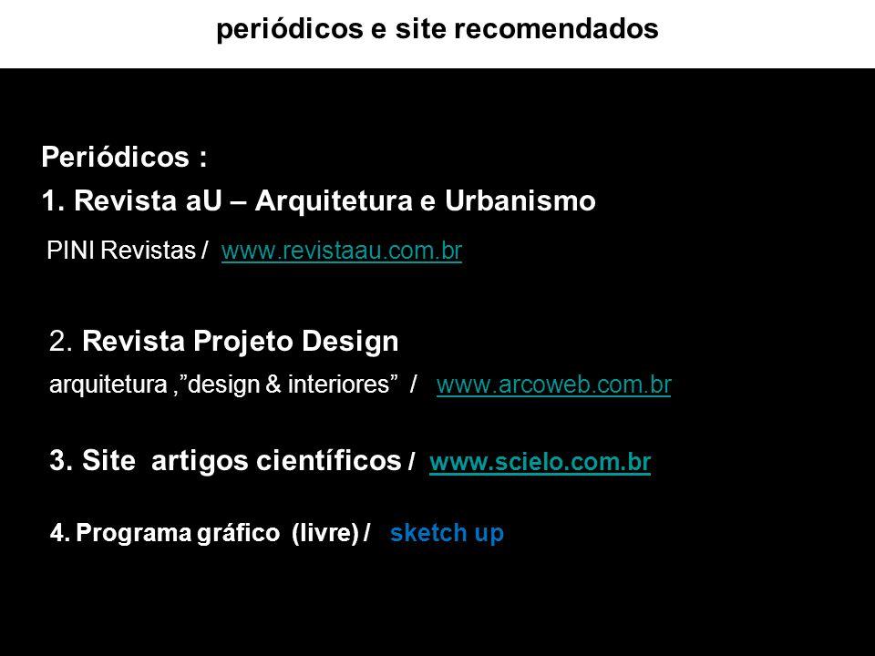 periódicos e site recomendados Periódicos : 1. Revista aU – Arquitetura e Urbanismo PINI Revistas / www.revistaau.com.brwww.revistaau.com.br 2. Revist