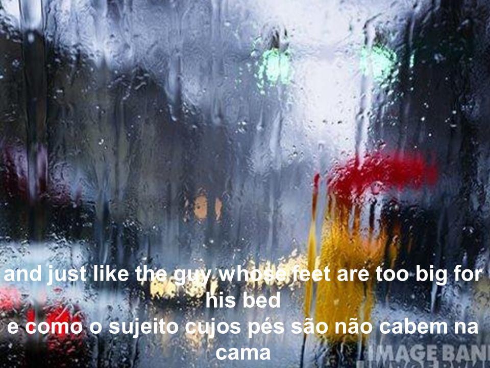Raindrops keep falling on my head Gotas de chuva caindo na minha cabeça