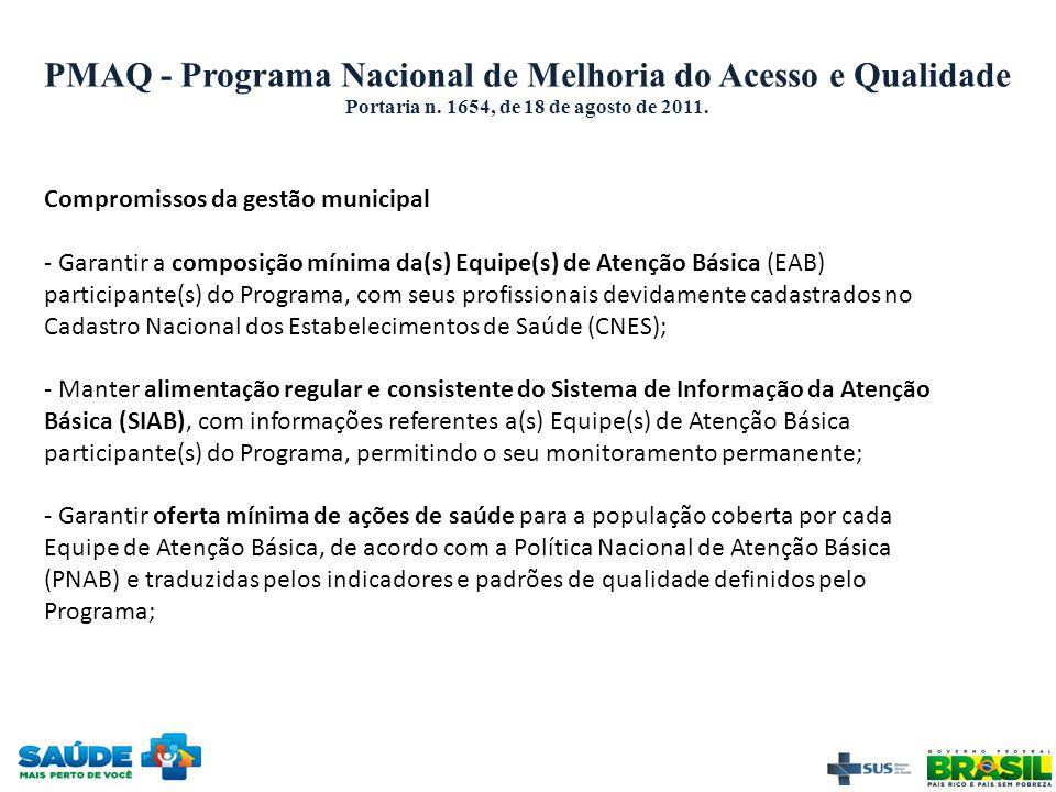 PMAQ - Programa Nacional de Melhoria do Acesso e Qualidade Portaria n. 1654, de 18 de agosto de 2011. Compromissos da gestão municipal - Garantir a co