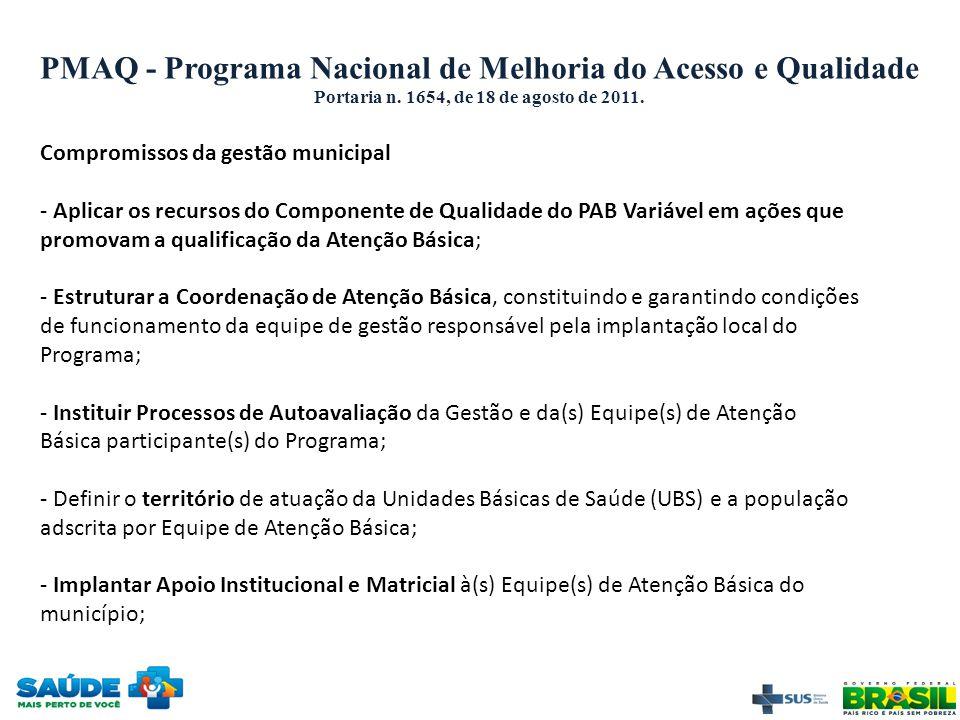 PMAQ - Programa Nacional de Melhoria do Acesso e Qualidade Portaria n. 1654, de 18 de agosto de 2011. Compromissos da gestão municipal - Aplicar os re
