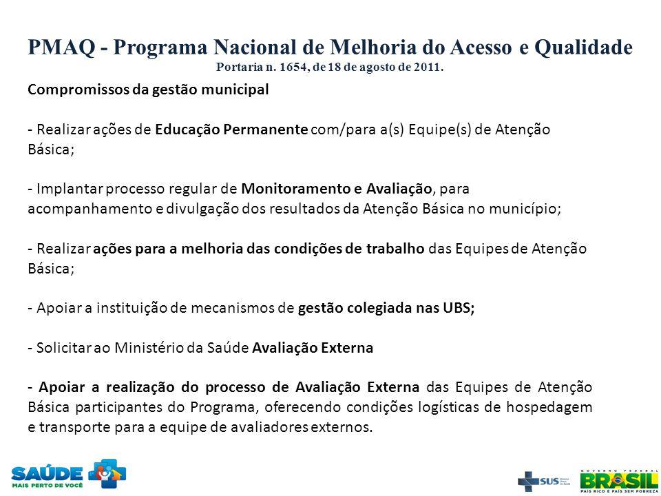 PMAQ - Programa Nacional de Melhoria do Acesso e Qualidade Portaria n. 1654, de 18 de agosto de 2011. Compromissos da gestão municipal - Realizar açõe