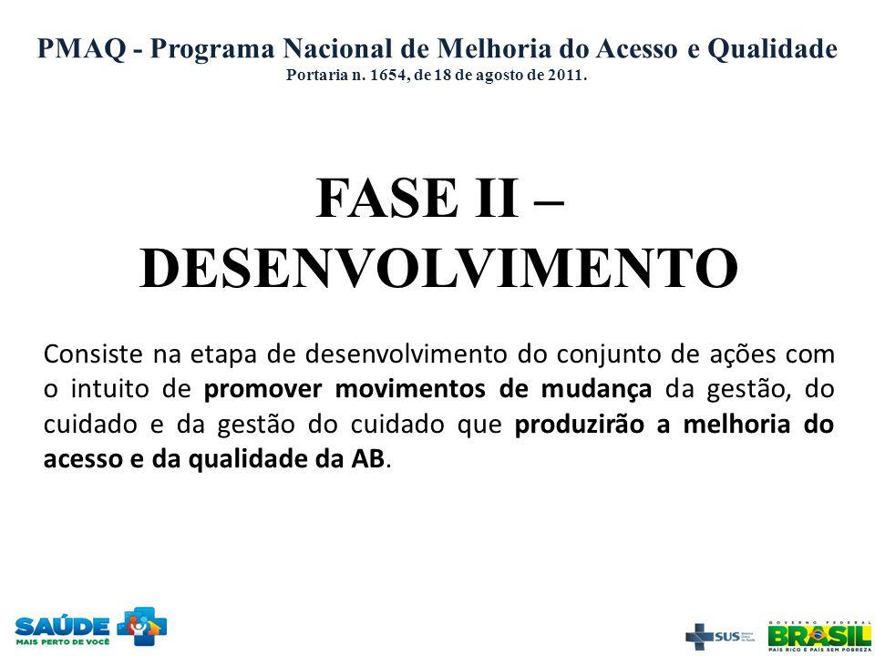 Portaria n. 1654, de 18 de agosto de 2011. FASE II – DESENVOLVIMENTO Consiste na etapa de desenvolvimento do conjunto de ações com o intuito de promov